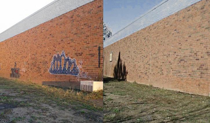 L'humidification avant et après le nettoyage de façade
